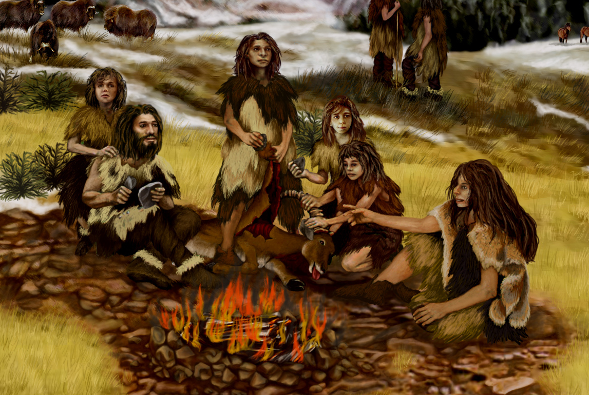 Family of Neanderthals.: Wiki Commons