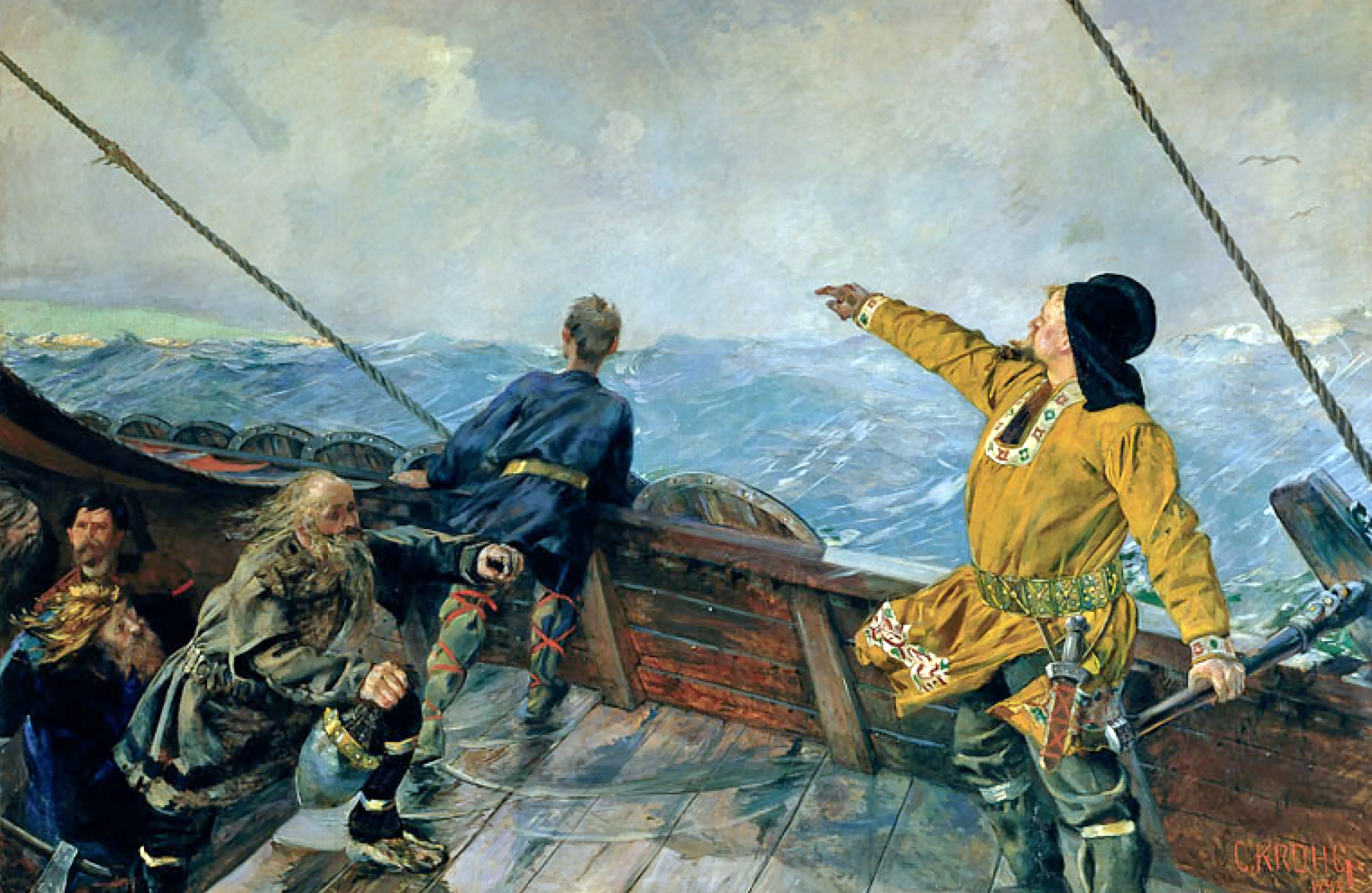 Christian Krohg&#039;s painting of Leiv Eiriksson discover America, 1893 : Wiki Commons