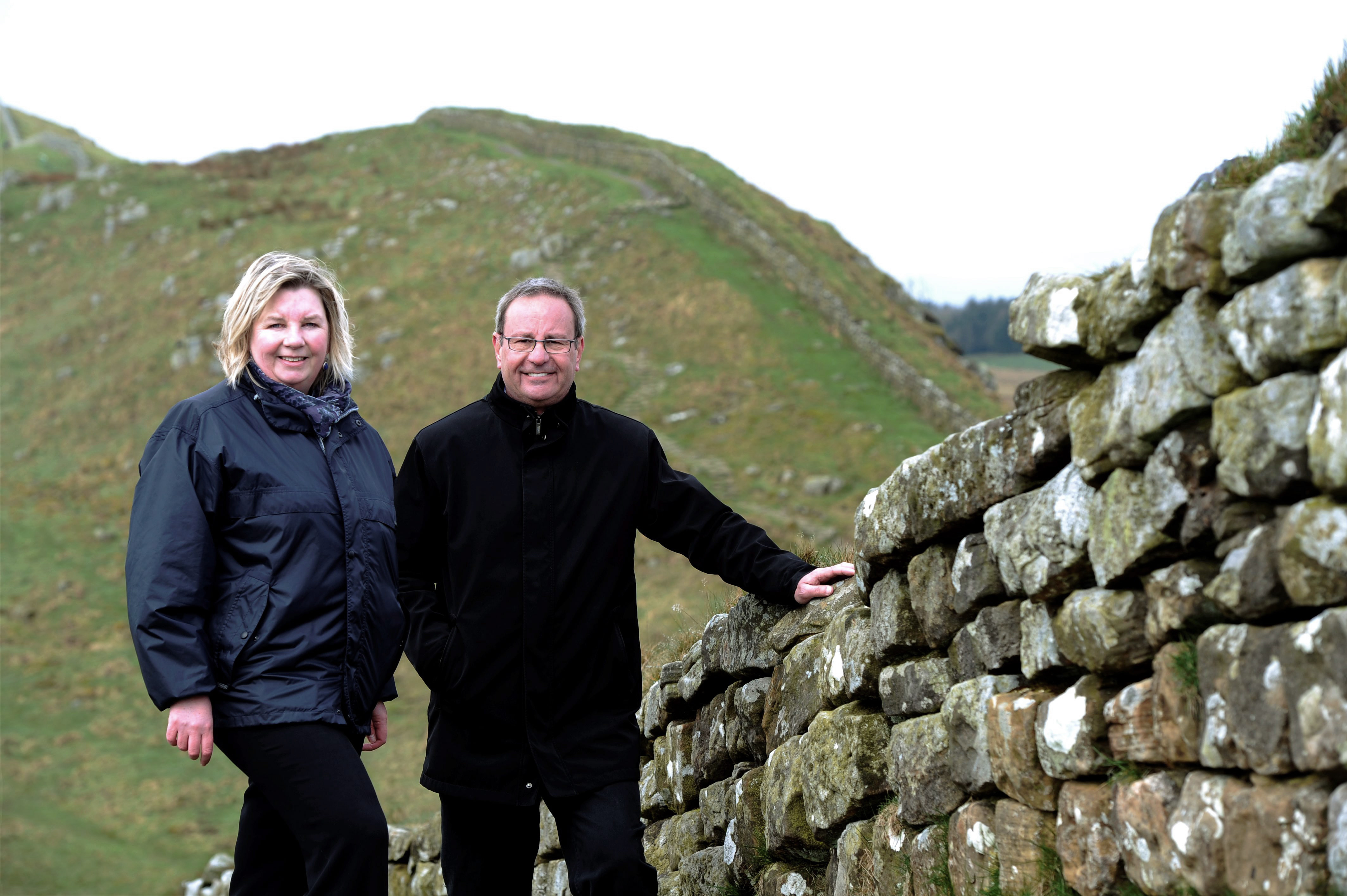 Caption: Linda Tuttiett, Hadrian's Wall Heritage & Marek Gordon, SITA Trust at Hadrian's Wall.