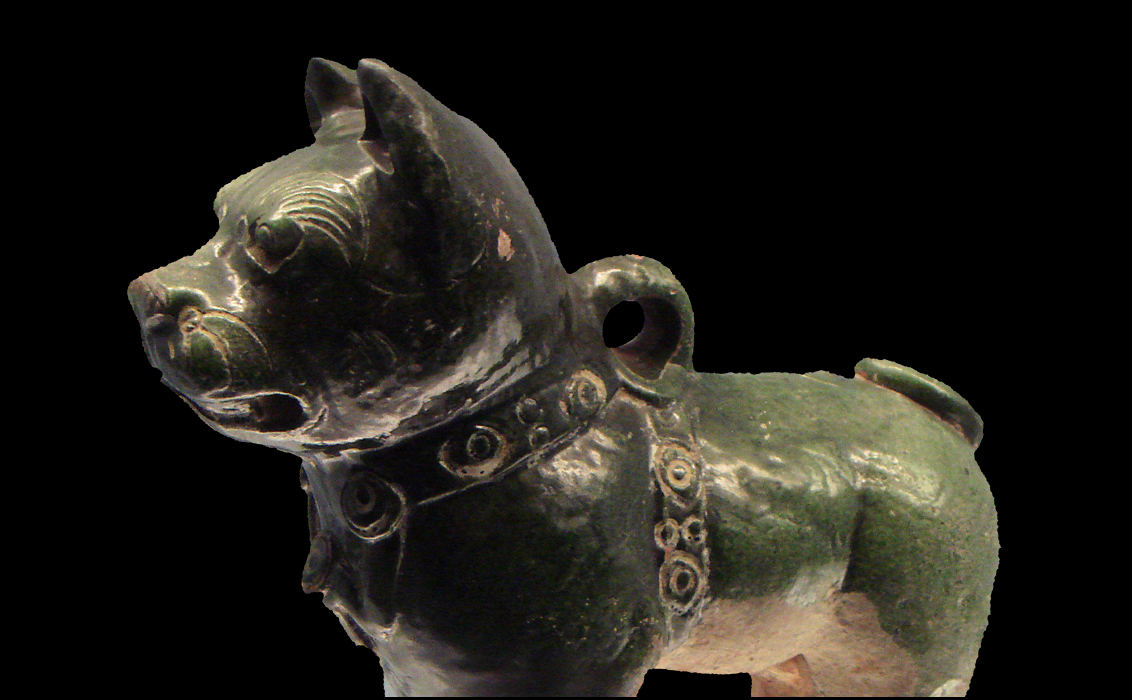 An Eastern Han green-glazed pottery dog, 25-220 CE : Wiki Commons