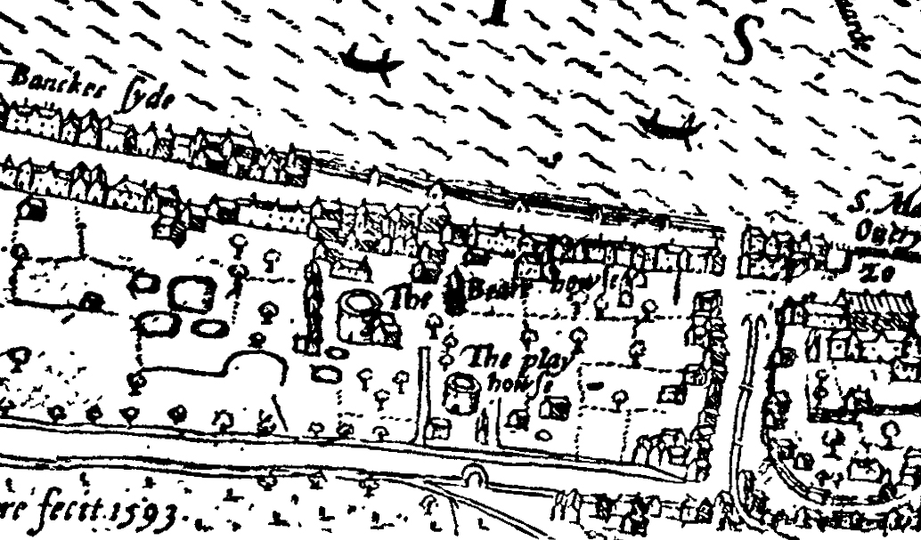 Bankside the Bear Garden and the Rose Theatre Norden's Map of London, 1593