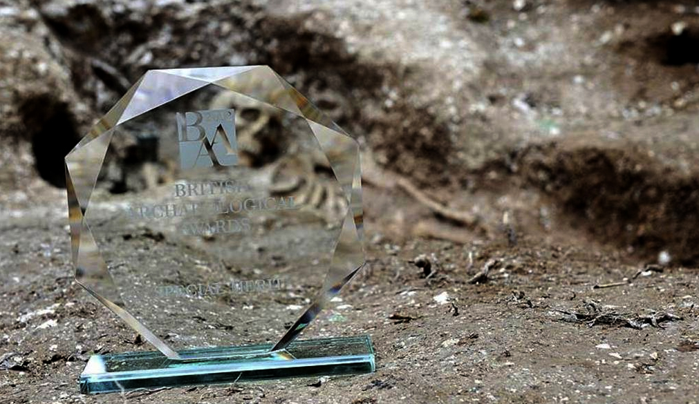 Saxon Burial with Award in forefront from the British Archaeology Awards