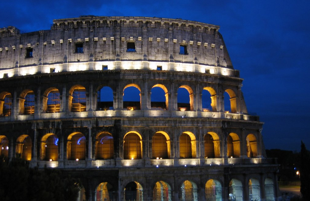 The Colosseum at night from the Via Nicola Salvi