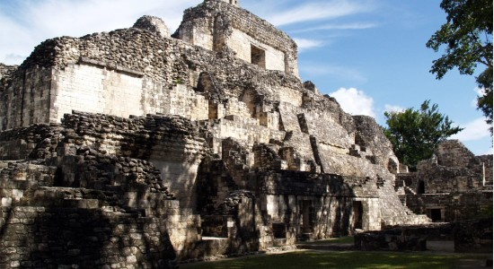 The ancient fortified site of Becan in the heart of the Central Maya Lowlands abandoned with the collapse and never repopulated