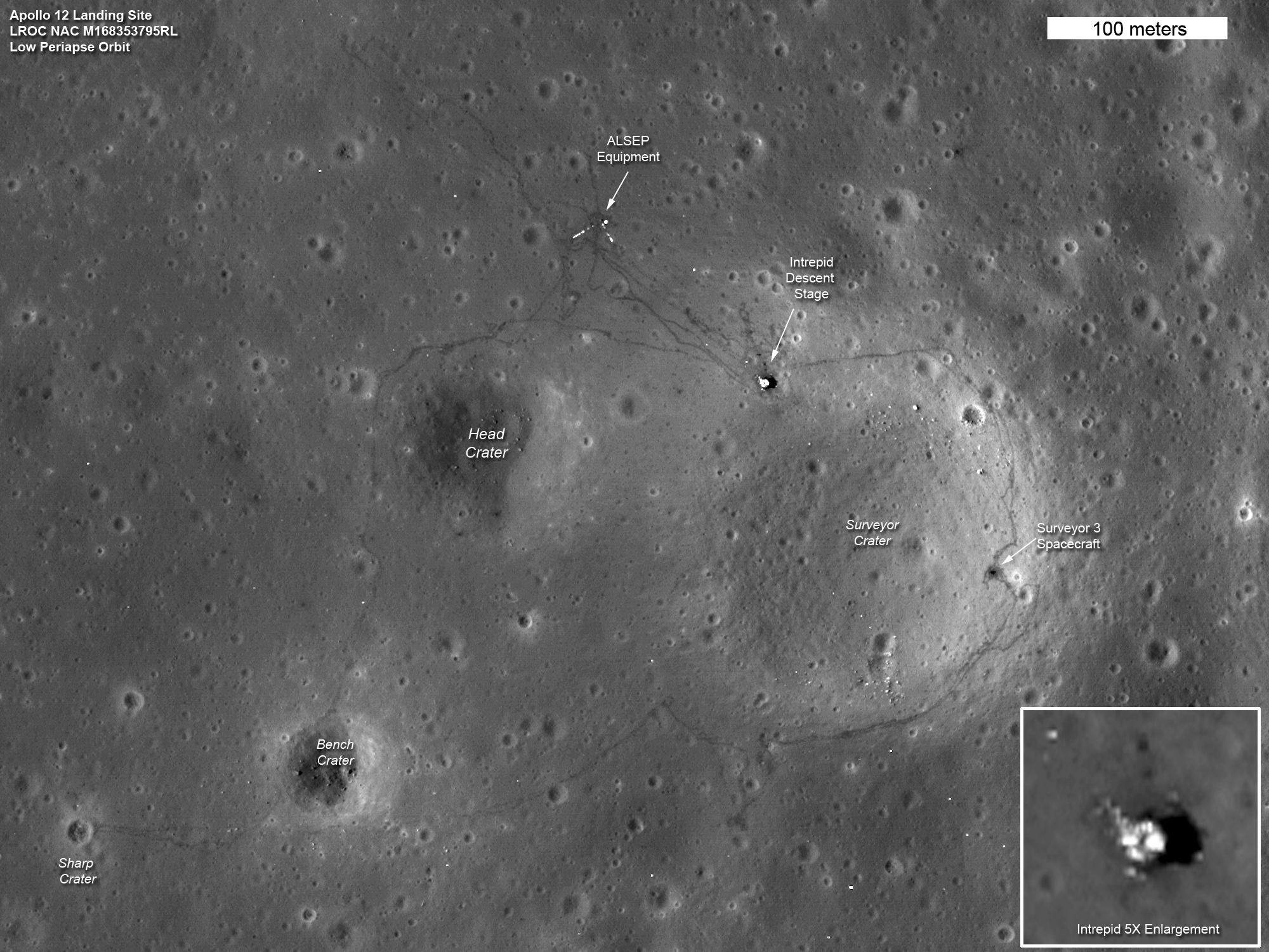 The paths left by astronauts Alan Shepard and Edgar Mitchell on both Apollo 14 moon walks are visible in this image. (At the end of the second moon walk, Shepard famously hit two golf balls.) The descent stage of the lunar module Antares is also visible:   Image   NASA's Goddard Space Flight Center/ASU
