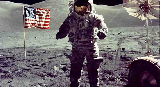 Apollo 17 commander Eugene Cernan on the lunar surface:  Image NASA