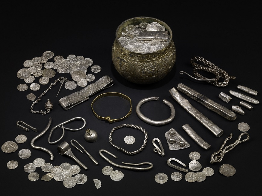 The Vale of York hoard, AD 900s. North Yorkshire, England. Silver-gilt, gold, silver. British Museum