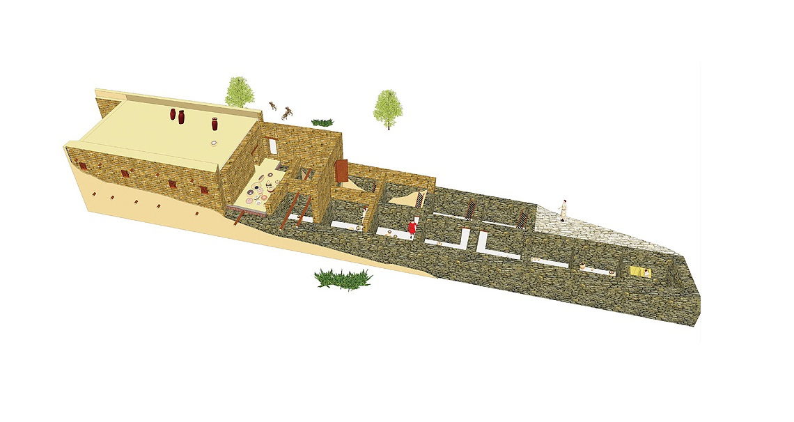 Reconstruction of the building from 1100 B.C. University of Gothenburg