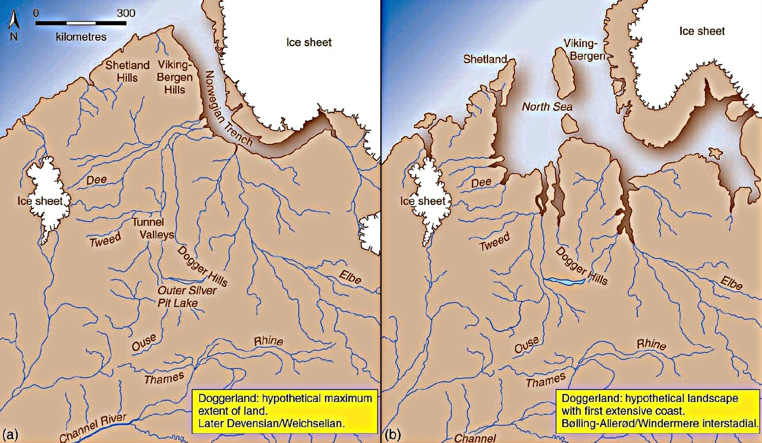 Doggerland at (A) its hypothetical maximum, with glaciers remaining in Scottish highlands to the left, and (B) as the coastline recedes. Vincent Gaffney