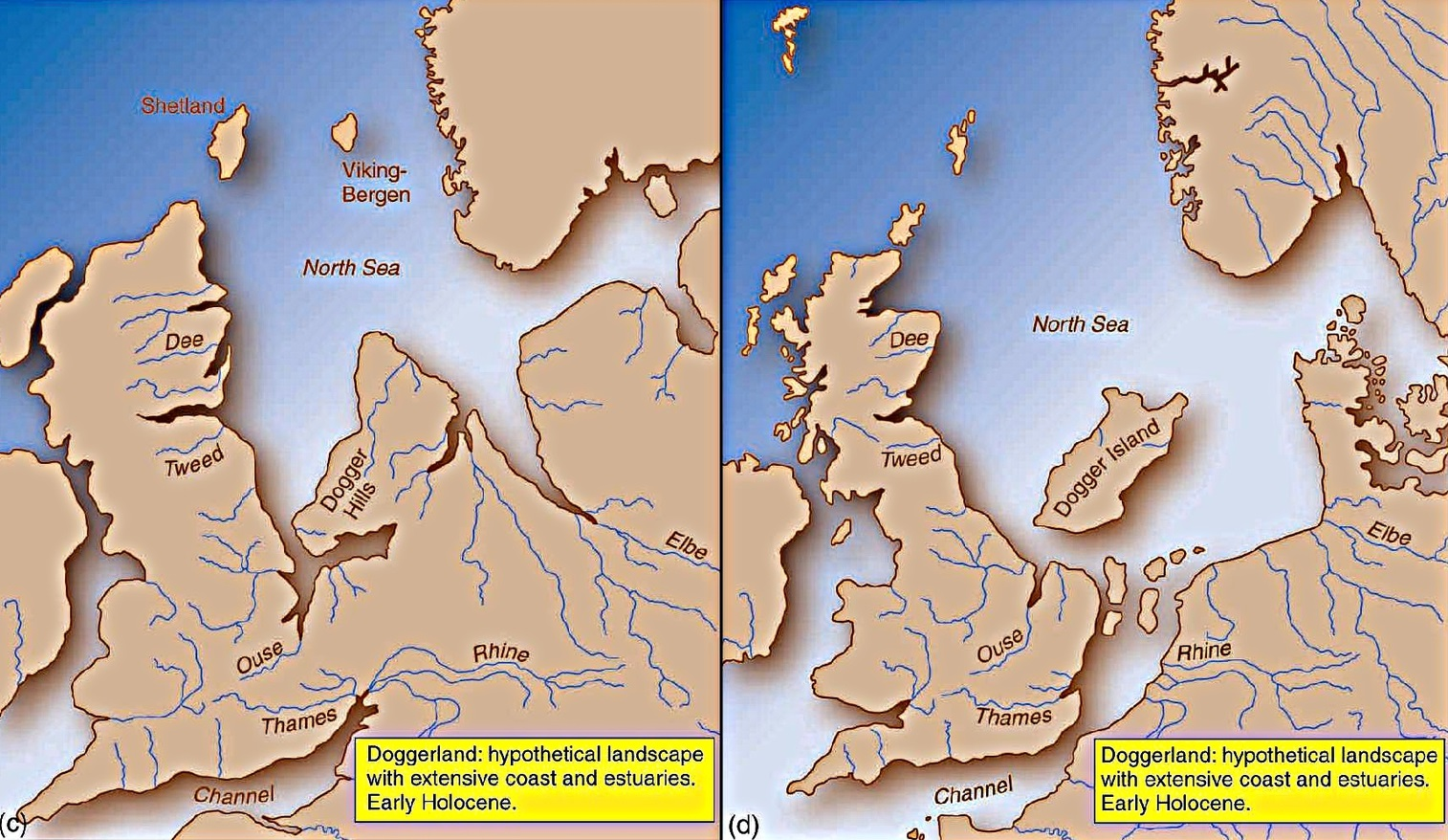 The North Sea appears at start of the modern period (C), leaving only 'Dogger Island' (Dogger Bank) as recognisable coastlines appear (D). Vincent Gaffney