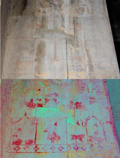 Caption: A hidden image at Angkor Wat temple showing life scenes. The enhanced image is below, and the original image is above. Credit: Noel Hidalgo Tan