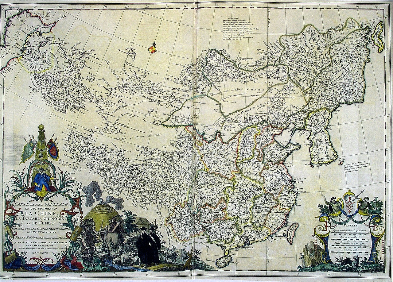 "Tibet in 1734. Royaume de Thibet (""Kingdom of Tibet"") in la Chine, la Tartarie Chinoise, et le Thibet (""China, Chinese Tartary, and Tibet"") on a 1734 map by Jean Baptiste Bourguignon d'Anville, based on earlier Jesuit maps. WikiPedia"