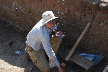 Emory University anthropologist Jessica Thompson is at work in the field in Africa. She specializes in the study of what happens to bones after an animal dies. Credit : Photo courtesy Jessica Thompson.