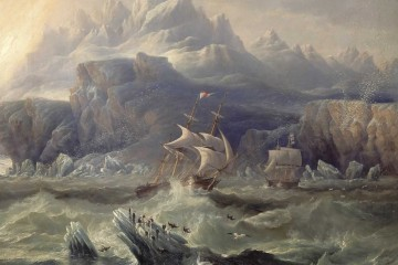 HMS Erebus and Terror from the expedition by John Wilson Carmichael