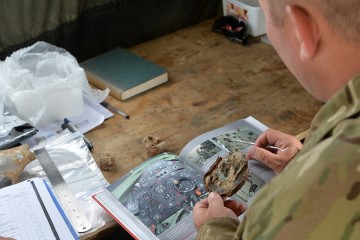 A soldier tries to identify a part of MK1a Spitfire P9503 excavated during the dig Picture: Corporal Steve Blake RLC, Crown copyright