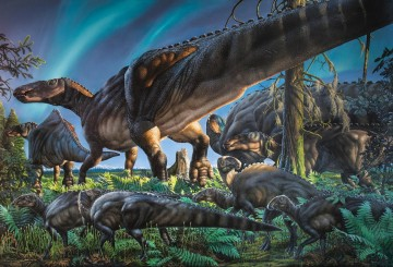 This original painting by James Havens of Ugrunaaluk kuukpikensis, the new species of duck-billed dinosaur described in research published today in the international journal Acta Palaeontologica Polonica, illustrates a scene from ancient Alaska during the Cretaceous Period. CREDIT : James Havens