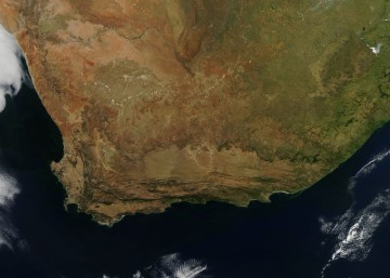 This photo-like image of South Africa was captured on April 12, 2010, by the Moderate Resolution Imaging Spectroradiometer (MODIS) on NASA's Aqua satellite. CREDIT NASA