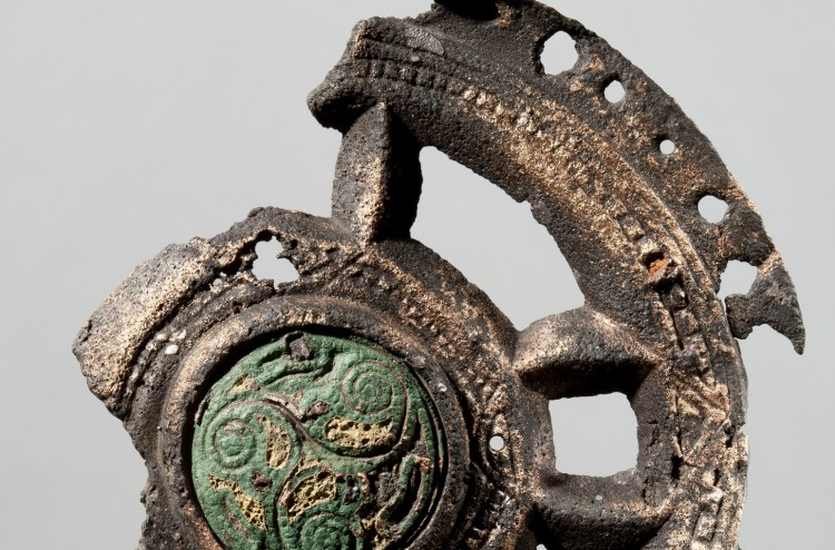 "Mounting, probably from a religious object, produced in Ireland in the 8th century. The mounting have traces of modifications and was probably used as a brooch. It was found in a woman's grave from the first part of the 9th century, in Oppland, Norway"". Credit : Museum of Cultural History"