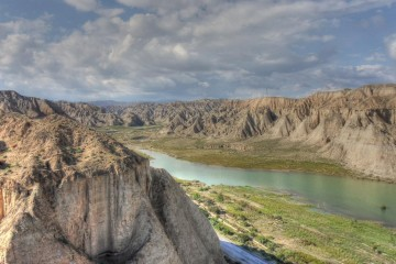 This is a side branch of the Yellow River on the north east edge of the Tibetan plateau. CREDIT Thomas Stevens