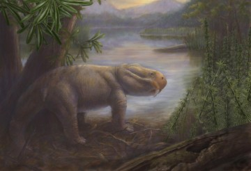 The ancient mammal Lystrosaurus, a survivor of the Permian-Triassic mass extinction, is shown standing on the shore of a lake in the Karoo Basin of South Africa. CREDIT : Credit: Marlene Donnelly