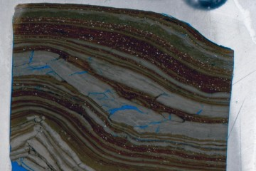 Petrographic thin section made from core sample is shown. CREDIT : USGS Core Research Center
