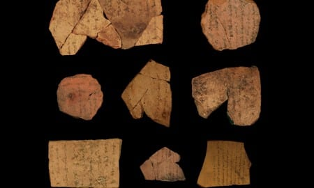 straca (ink inscriptions on clay) from the Iron Age fortress of Arad, located in arid southern Judah. These documents are dated to the latest phase of the First Temple Period in Judah, ca. 600 BCE. The texts represent correspondence of local military personnel. The research engaged new document analysis algorithms aimed at identifying different writers. It detected at least six contemporaneous authors within a corpus of 16 inscriptions. This indicates a high literacy level within the Judahite administration and provides a possible stage-setting for compilation of biblical texts. CREDIT Michael Cordonsky (photographer), Tel Aviv University and the Israel Antiquities Authority.