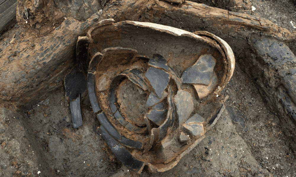A nested set of ceramic pots, stacked inside one another. This Bronze Age community have a large array of household goods- even 3000 years ago people seemed to have a lot of stuff. Copyright Cambridge Archaeological Unit (CAU), photo Dave Webb