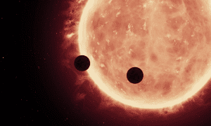 Artist's view of planets transiting a red dwarf star in the TRAPPIST-1 system. CREDIT NASA, ESA, and STScI