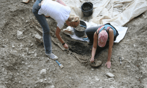 Excavations of human remains at Vlasac, Serbia. CREDIT Dušan Bori?