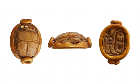 Thutmosis III scarab: Gold-mounted scarab of steatite with the cartouche of Thutmosis III (1479-1425 BC); remains of blue colour on scarab
