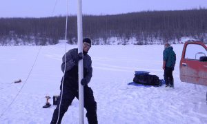 The fieldwork was conducted during the winter because the frozen lake surface provided the researchers with a solid (but freezing) platform for drilling into the sediment. CREDIT Mikkel Winther Pedersen