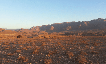 This is a view of arid mountains at dusk in the Richtersveld Community Conservancy, South Africa. CREDIT Brenna Henn