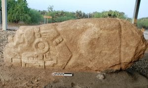 A photo of the crocodile stone discovered by Field Museum archaeologists. CREDIT © Linda Nicholas, The Field Museum