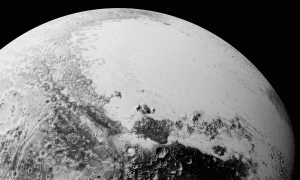 "Sputnik Planitia (the left lobe of Pluto's ""heart"") is believed to be the outer solar system equivalent of a lunar ""mascon"" (mass concentration). Like mascons on the Moon, Sputnik Planitia is believed to be an impact basin, filled in with lavas (on Pluto, cryogenic ices take the place of lavas)."