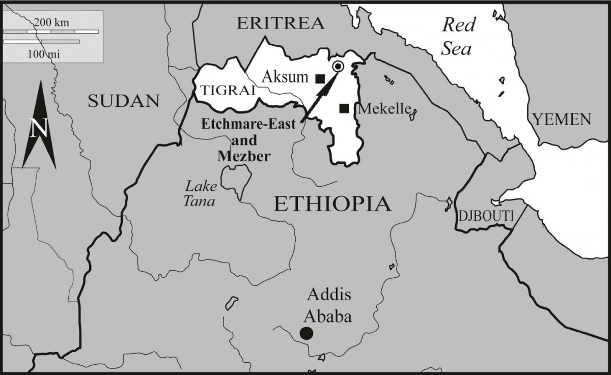 This is the location of the Mezber archaeological site in northern Ethiopia. CREDIT Courtesy of International Journal of Osteoarchaeology