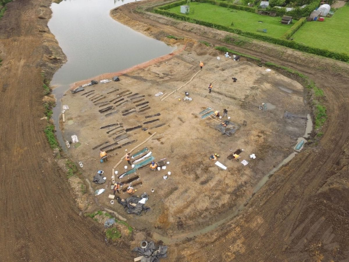 An aerial view of the archaeological excavations (c) MOLA