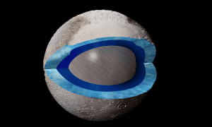 This cutaway image of Pluto shows a section through the area of Sputnik Planitia, with dark blue representing a subsurface ocean and light blue for the frozen crust. CREDIT Pam Engebretson