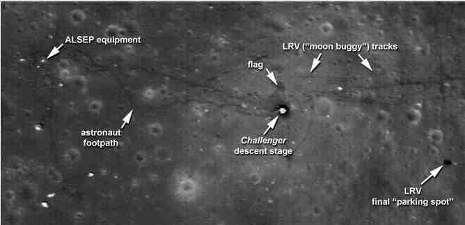 Apollo 17 landing site taken by LRO in its lower orbit, with 25 cm per pixel:   Image NASA/Goddard/ASU