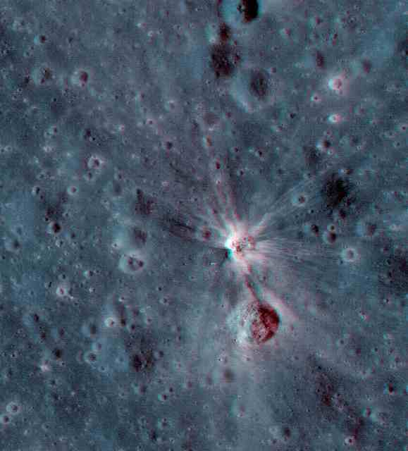 The crater made by the Apollo 17 booster: Image NASA/GSFC/Arizona State University, 3-D by Nathanial Burton-Bradford.