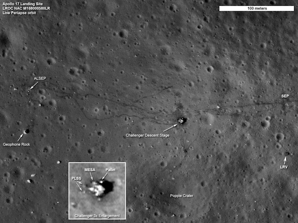 The remains of the Apollo 17 site in the moon's Taurus-Littrow Valley:  Image: (NASA/GSFC/Arizona State University)