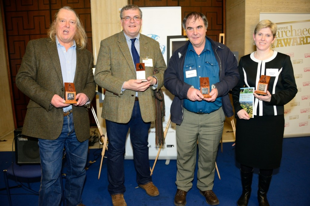 The four winners of this year's prestigious Current Archaeology Awards. L-R: Phil Harding (Archaeologist of the Year), Richard Buckley (Research Excavation of the Year, for the search for Richard III), Keith Parfitt (Rescue Dig of the Year, presented to Canterbury Archaeological Trust for their work at Folkestone Roman villa), and Rebecca Jones (Book of the Year – Roman Camps in Britain)