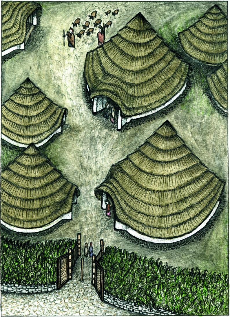 A reconstruction drawing of the Broxmouth settlement. Credit : Historic Scotland