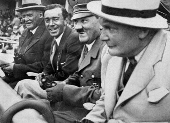 Adolf Hitler and Hermann Göring watching events in the Berlin Olympic Stadium.