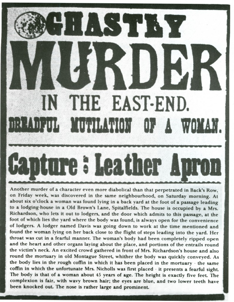 "Newspaper broadsheet referring to the killer as ""Leather Apron"", September 1888 - WikiPedia"