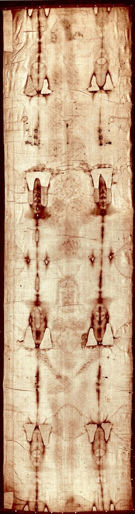Full-length image of the Turin Shroud before the 2002 restoration.
