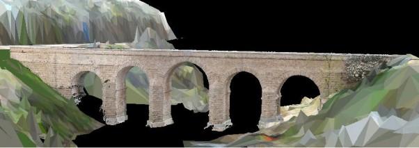 3D model of the roman bridge of Segura, on the border between Spain and Portugal / Credit: Grupo de Geotecnologías Aplicadas (UVigo)