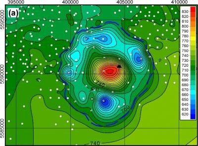 This is a map showing the structure and contour of the Bow City crater. Color variation shows meters above sea level. Credit: Alberta Geographic Survey/University of Alberta