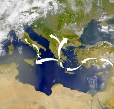 Caption: Genetic markers in modern populations indicate the Neolithic migrants who brought farming to Europe traveled from the Levant into Anatolia and then island hopped to Greece via Crete and then to Sicily and north into Southern Europe. Credit: Modified NASA map