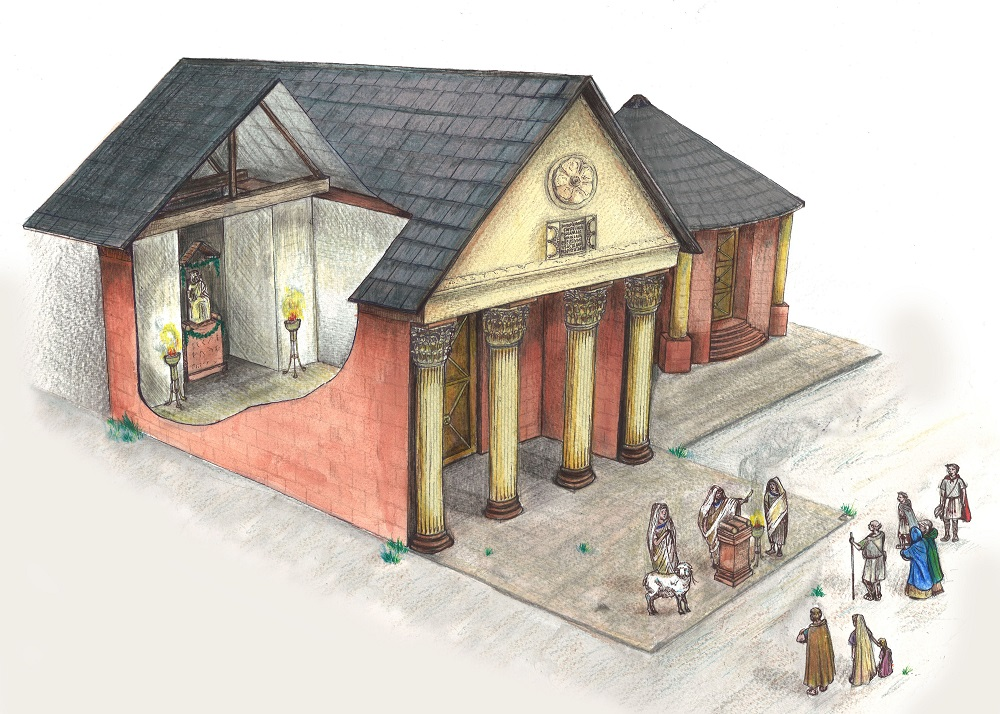 Artist's impression of Maryport Roman temple ©OxfordArch aeologyLtd commissioned by Hadrian's Wall Trust