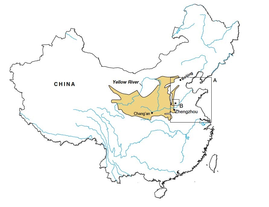Locator Map: The Yellow River Vallley of China, with Box A identifying the flood plain regions researched in this study.The star in Box B is the location of the Anshang and Sanyangzhuang sites. The approximate extent of the Loess Plateau is indicated by shading.